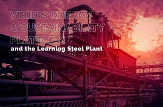A fabric and the text Viridis Energy & Sustainability Platform and The Learning Steel Plant above